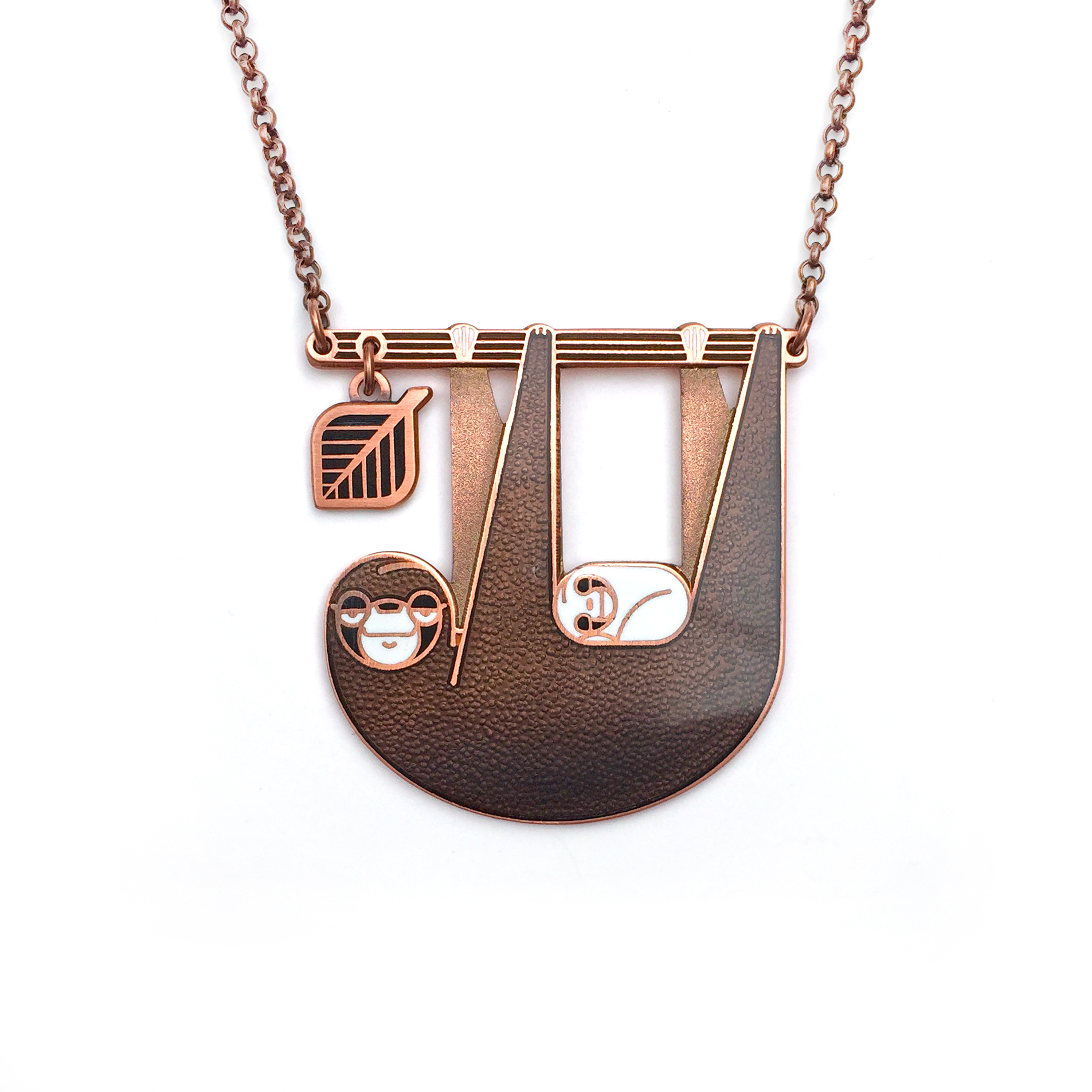 Sloth Necklace with dangling leaf