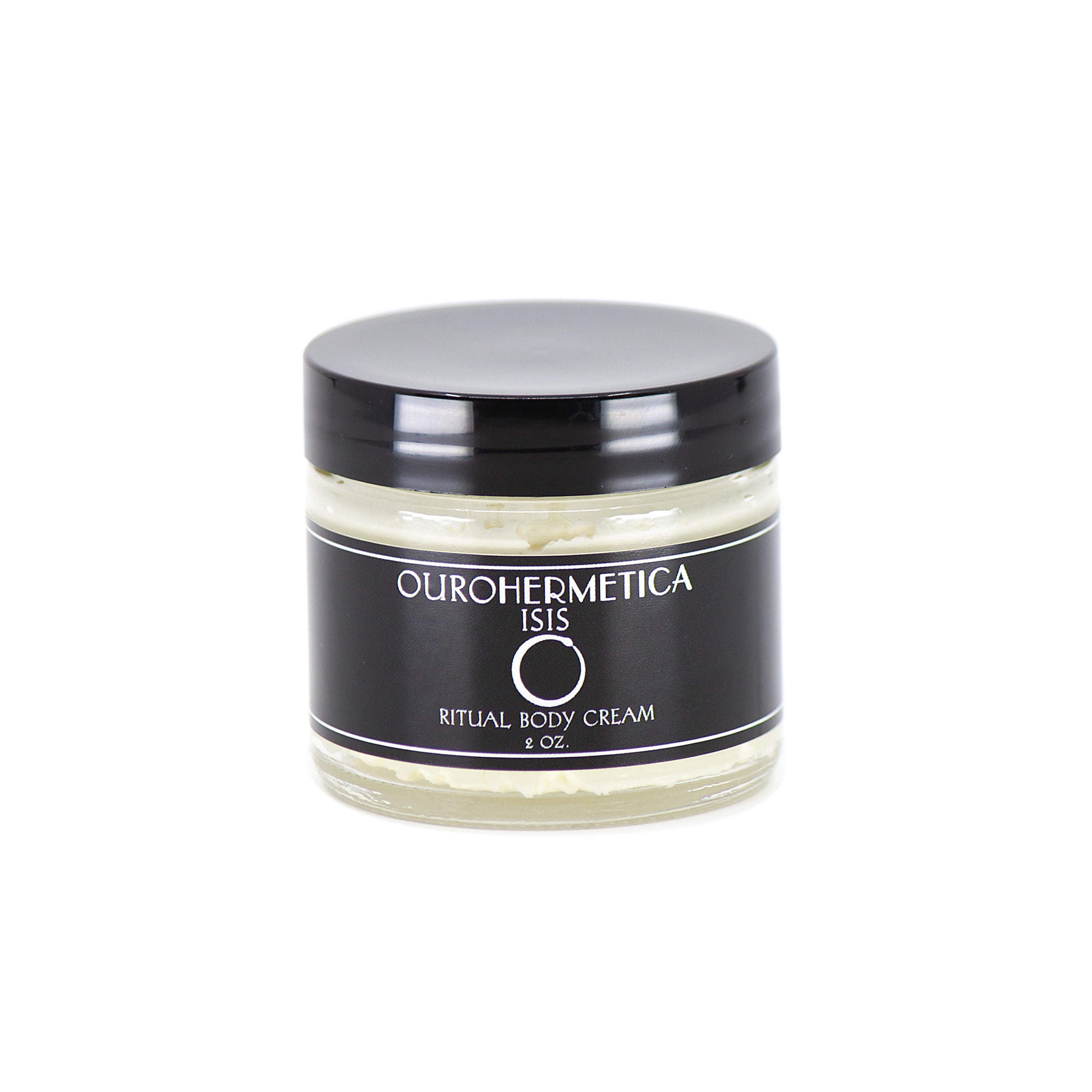 OuroHermetica ritual skin cream in clear glass jar with black label with white ouroboros logo
