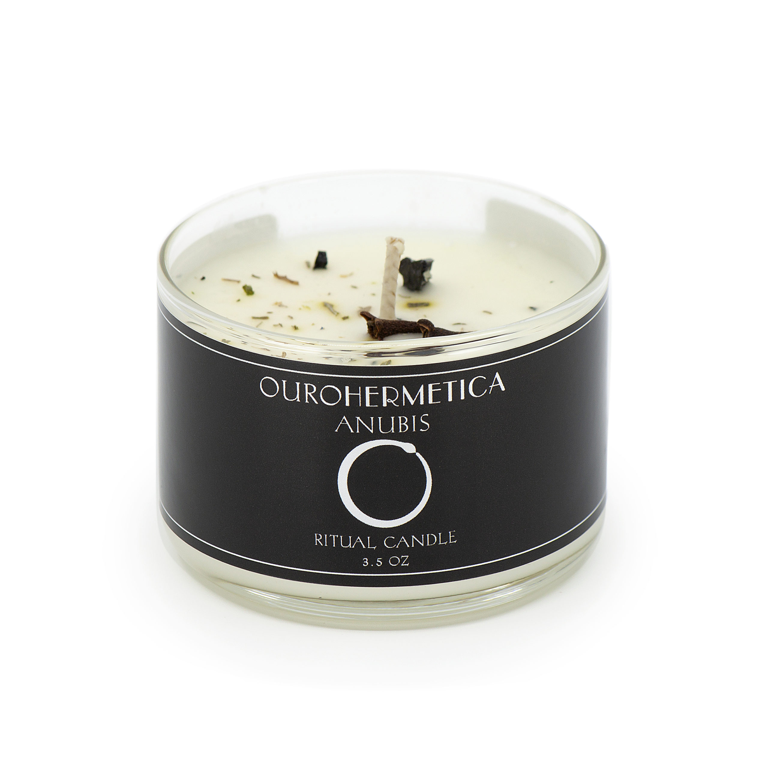 3.6 ounce candle with OuroHermetica Anubis black label with ouroboros icon