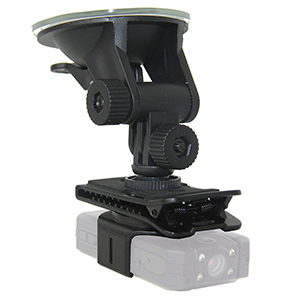 In-car camera suction mount for police car.