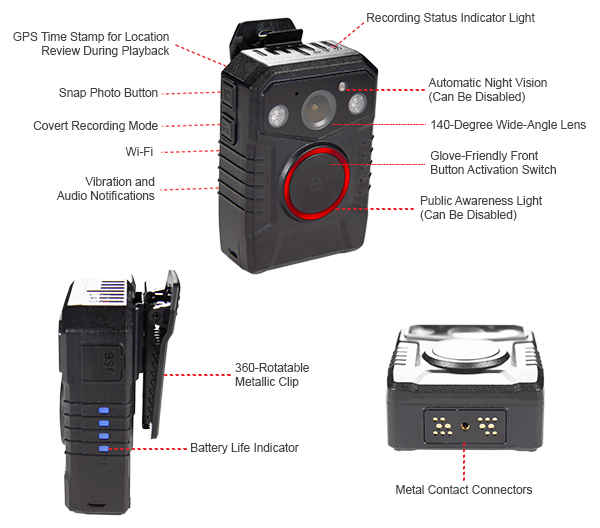 features of the wolfcom halo police body camera