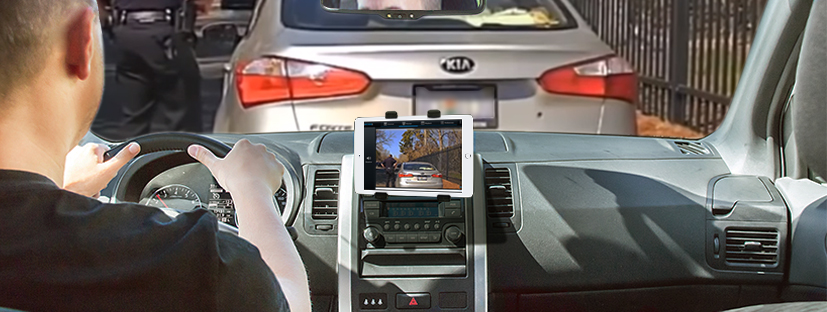 the wolfcom mini mdvr in-car video system connects to a mobile device