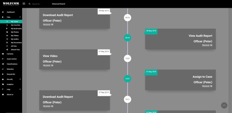 wolfcom cloud evidence management system activity log