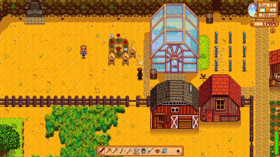 Barn, coop, and greenhouse