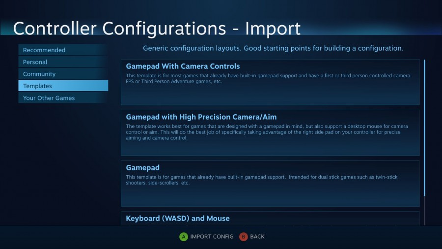 Importing a config template