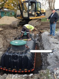 Septic tank in place