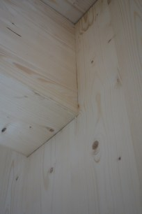 Detail of one of the drop beams downstairs