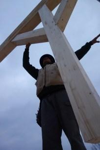 Ian balances the beam assembly