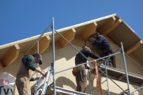 Cutting the final, difficult pieces of top-layer insulation