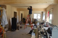 Light fittings have to be routed out of the CLT ceilings