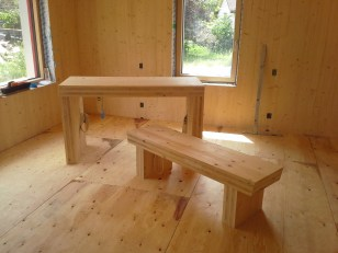 Left-over CLT kitchen island and bench