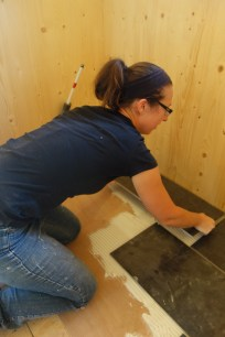 Large, heavy tiles need careful handling...