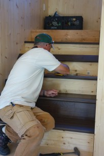 Steve continues the hickory up the stairs