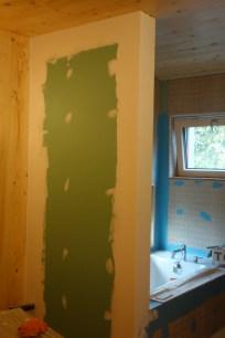 Mudded bathroom wall