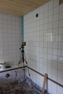 White tiles in the bathroom