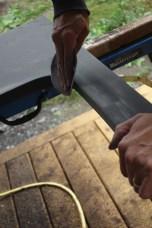 Sanding the cut edges