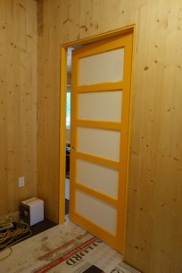 Mandarin Orange doorway into the main room (glass still covered)