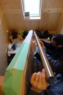 Aligning the upper steel handrail