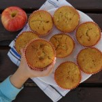 Kid holding Pumpkin Apple Muffin