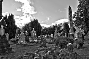 black and white picture of Glendalough Monastic Site