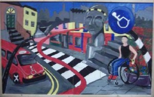 Painting of Kilkenny from wheelchair users perspective