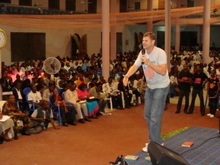 My speaking at the WILD youth night - complete with Mr Strong T-shirt...