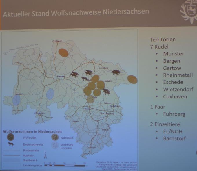 Aktueller Stand (6.12.2015) der Wolfsnachweise in Niedersachsen (Foto: Vogler)