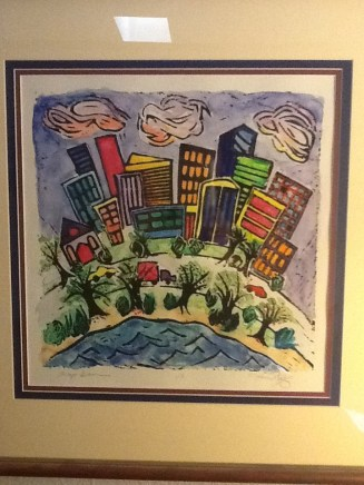"Lino print and watercolor ""Chicago Dreams"""