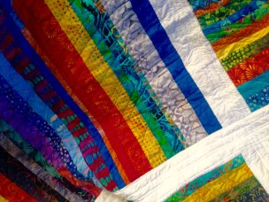 Detail-quilted in arcs with cotton variegated thread