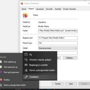 Firefox ve Chrome gizli pencere kısayolu