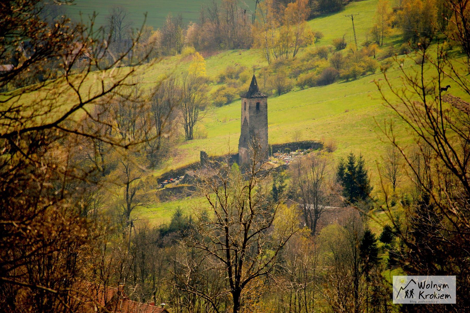 Opuszczona wieża kościelna Pastewnik Dolny Śląsk