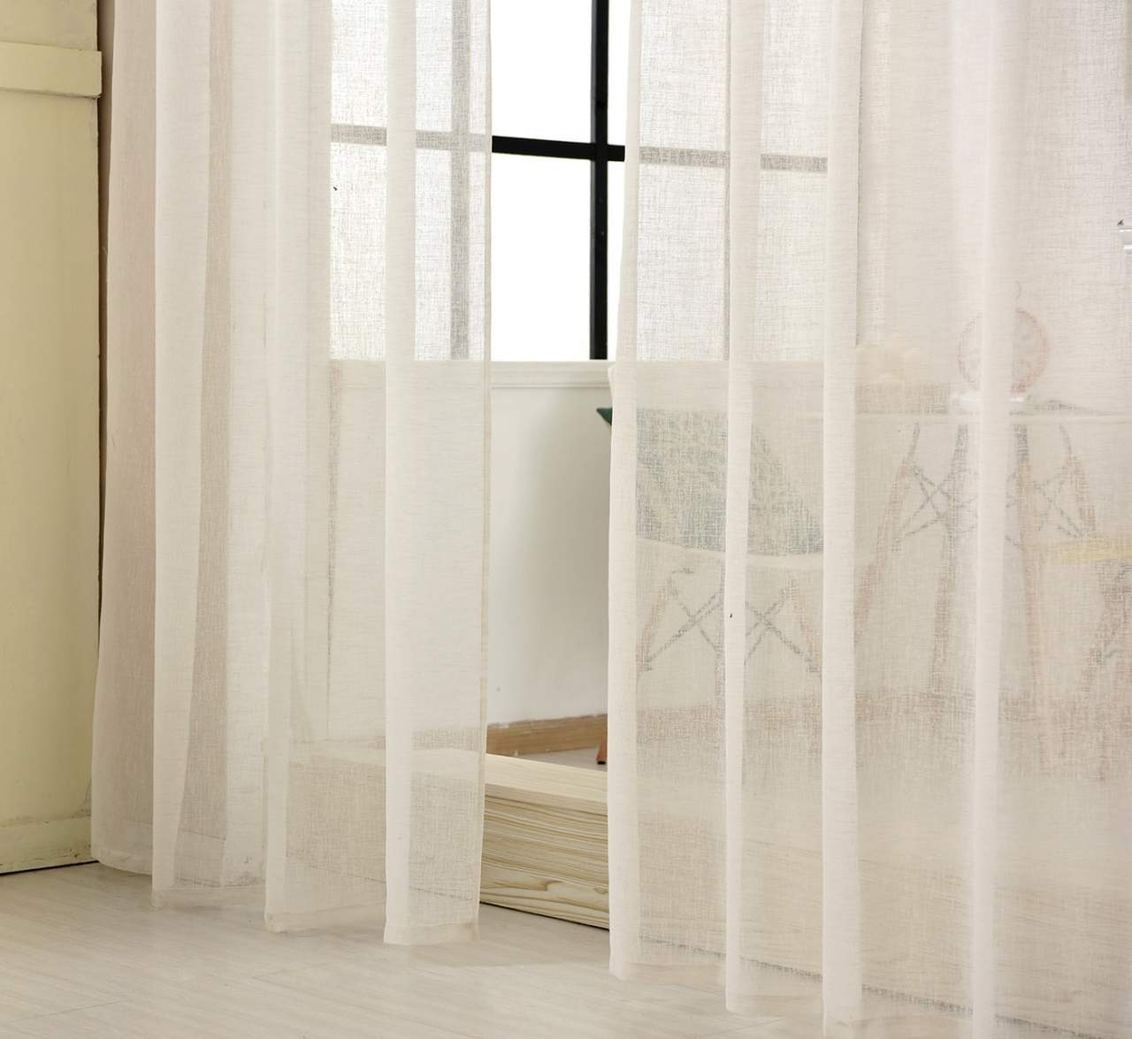 Alternative Gardinen Curtains With Curled Ribbon In Linen Look, Transparent | Woltu.eu