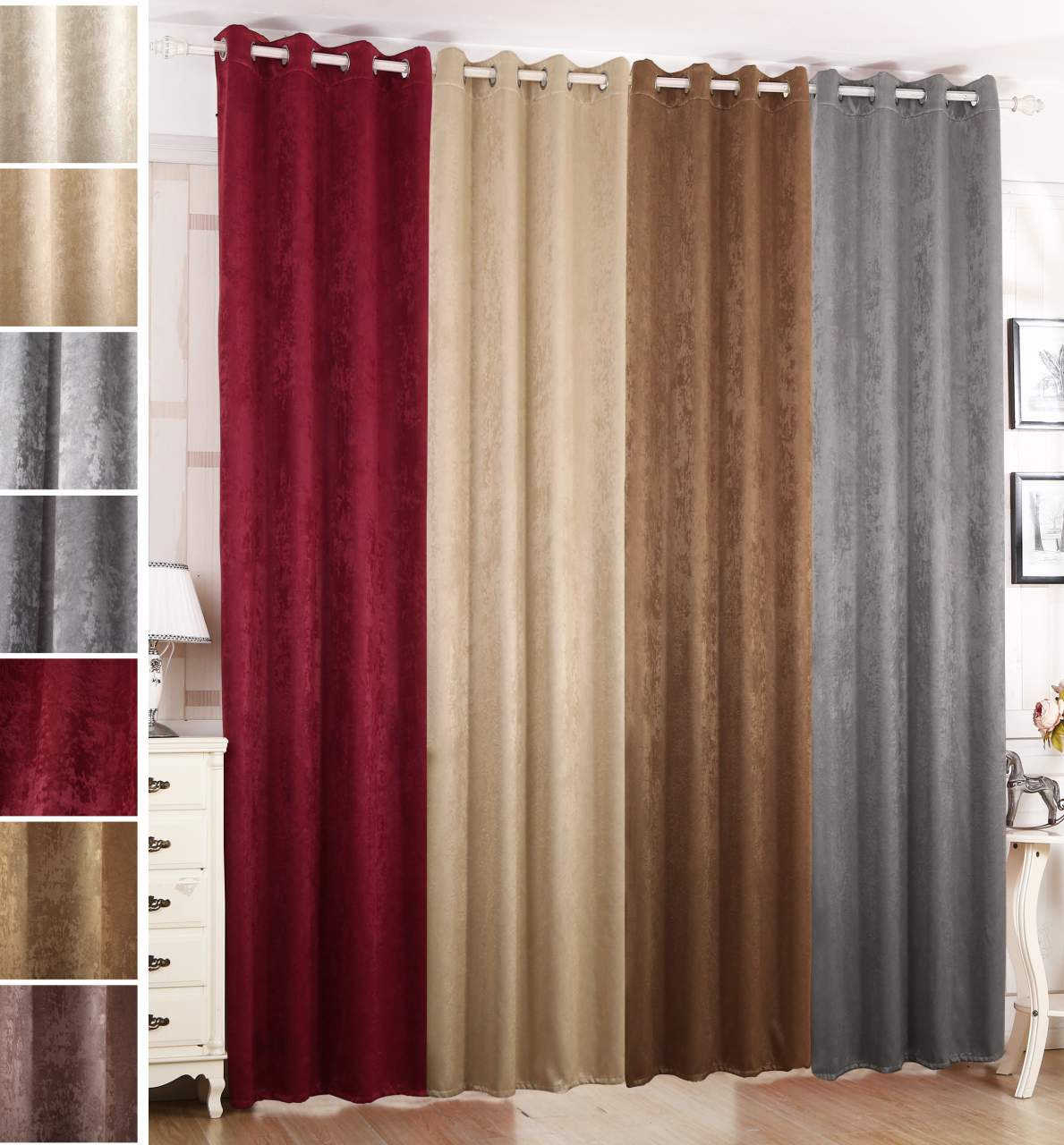 Thermo Vorhang Curtain With Eyelets In Damask Look, Opaque | Woltu.eu