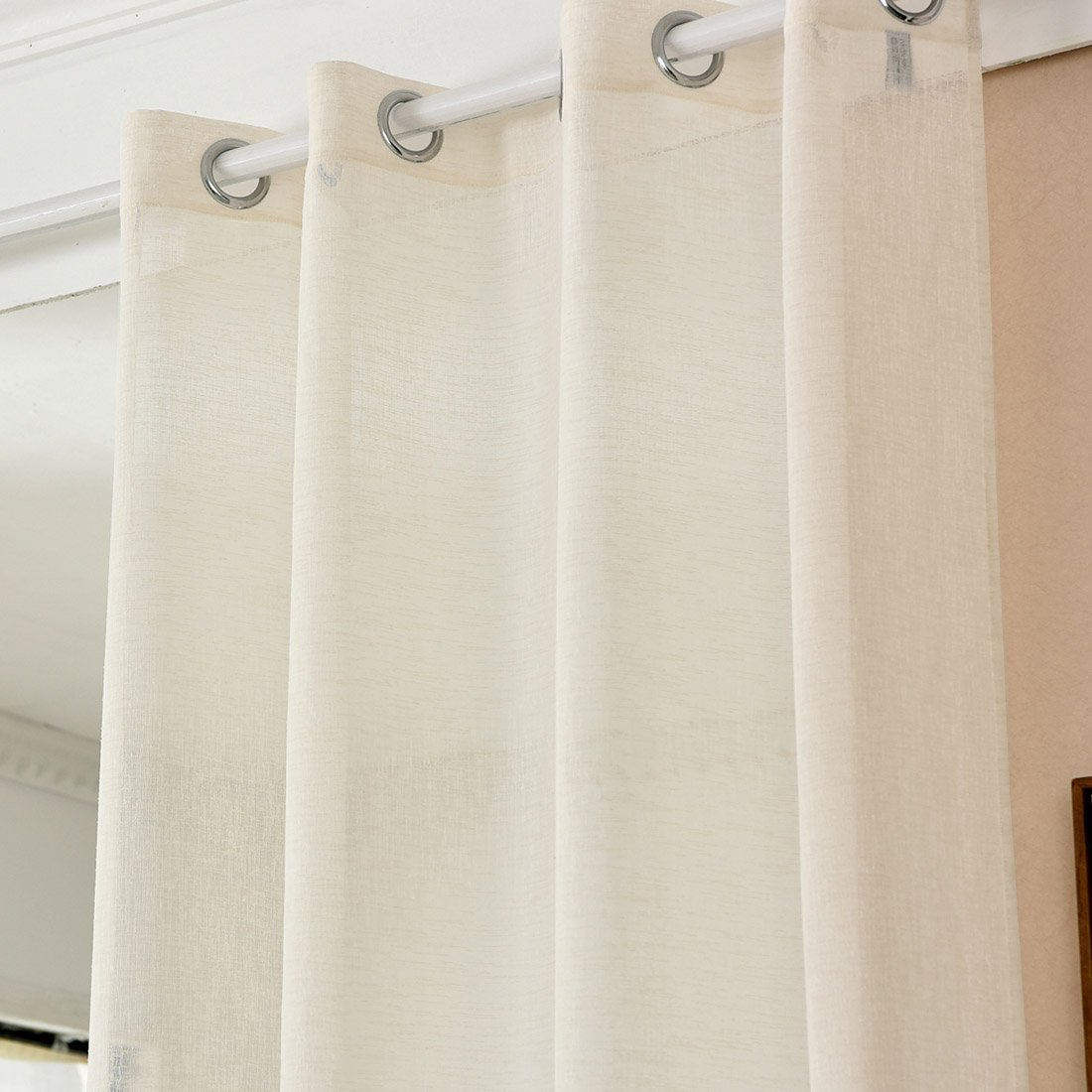 Curtain With Eyelets In Linen Look Transparent Woltu Eu
