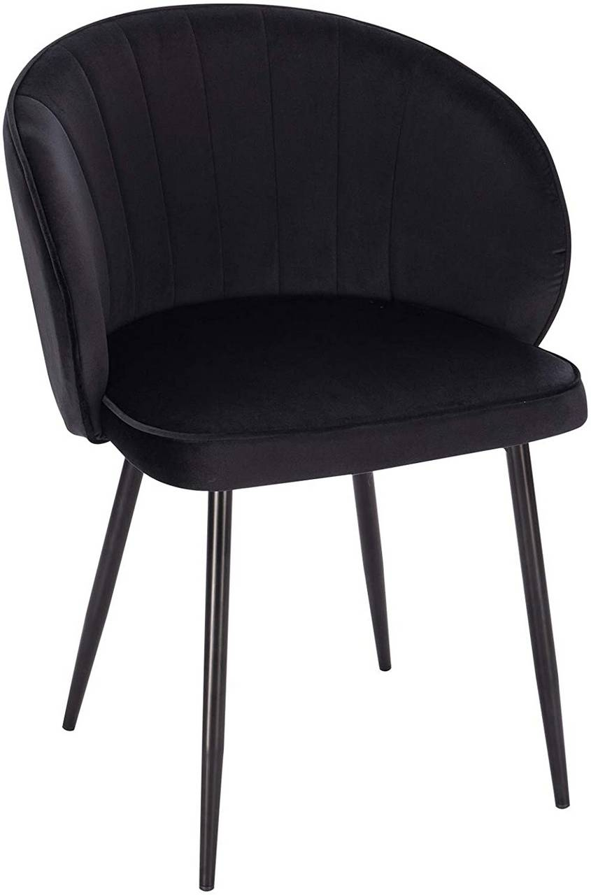 Polsterstuhl Schwarz Dining Chair Made Of Velvet & Metal Heidi | Woltu.eu
