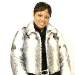 Black Cross Mink Cropped Jacket 008836