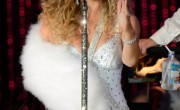 Mariah Carey Wears White Fox Fur Sling