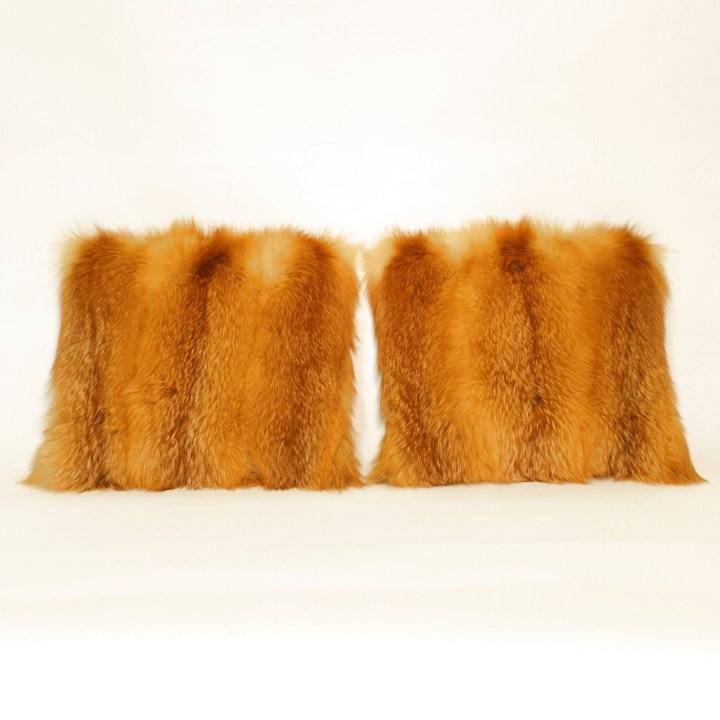 Red Fox Fur Pillow