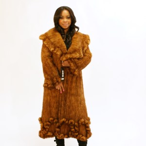 Knitted Whiskey Mink Coat 015633