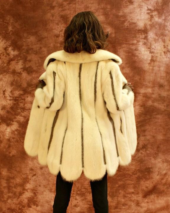 White Mink Scalloped Jacket 016791