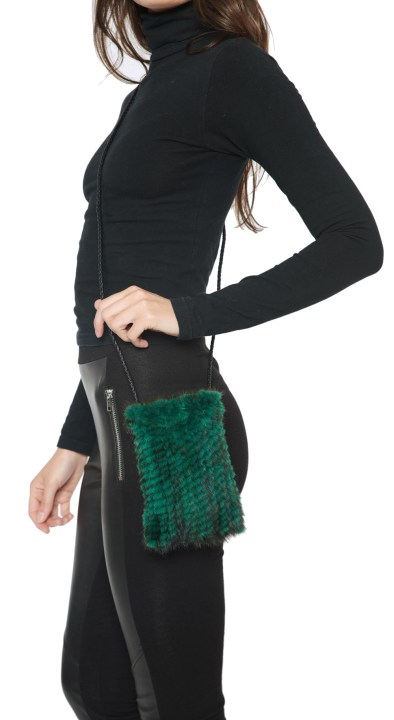 Knitted Mink Cell Pouch-Emerald
