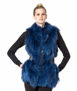 blue fox fur vest leather waist