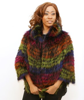 Multi-Color Fox Poncho