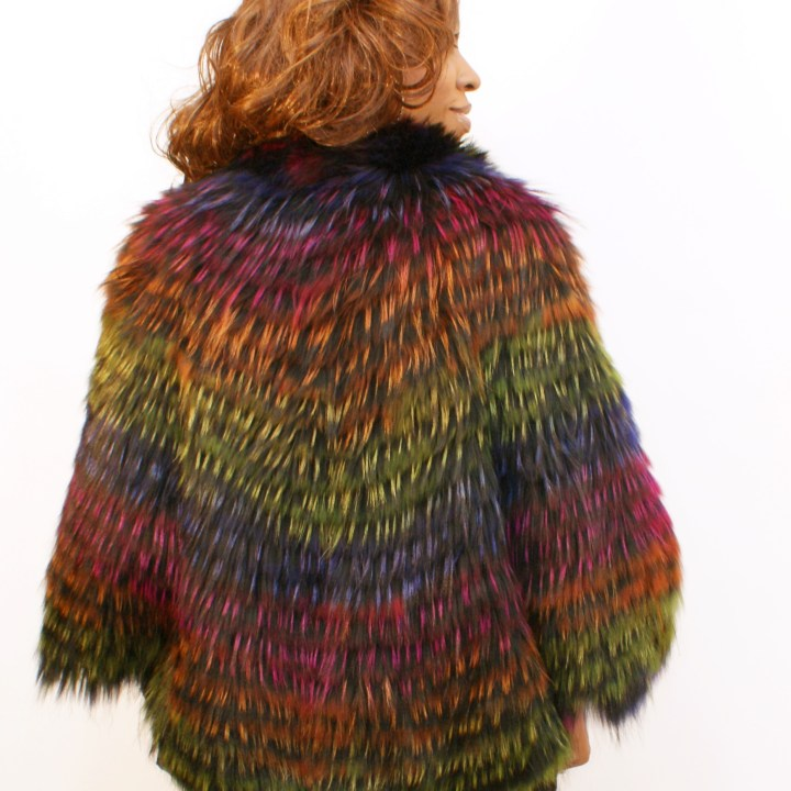 Multi-Color Fox Poncho