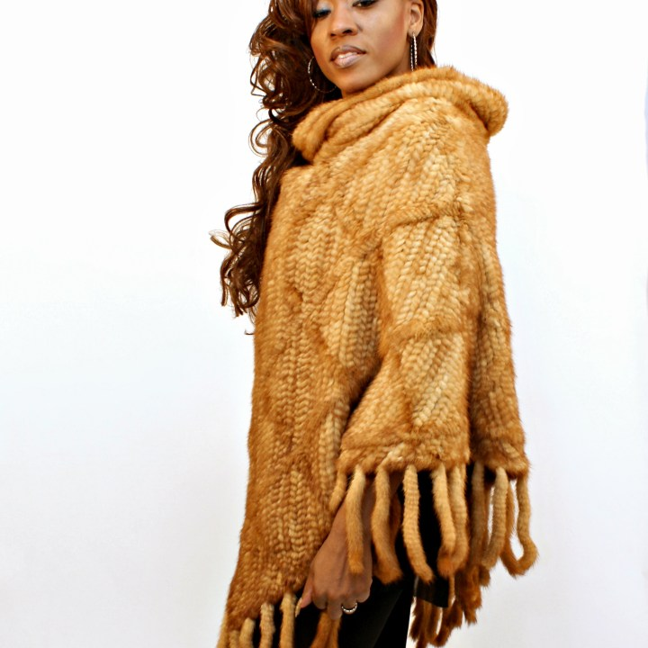 Whiskey Knitted Mink Poncho