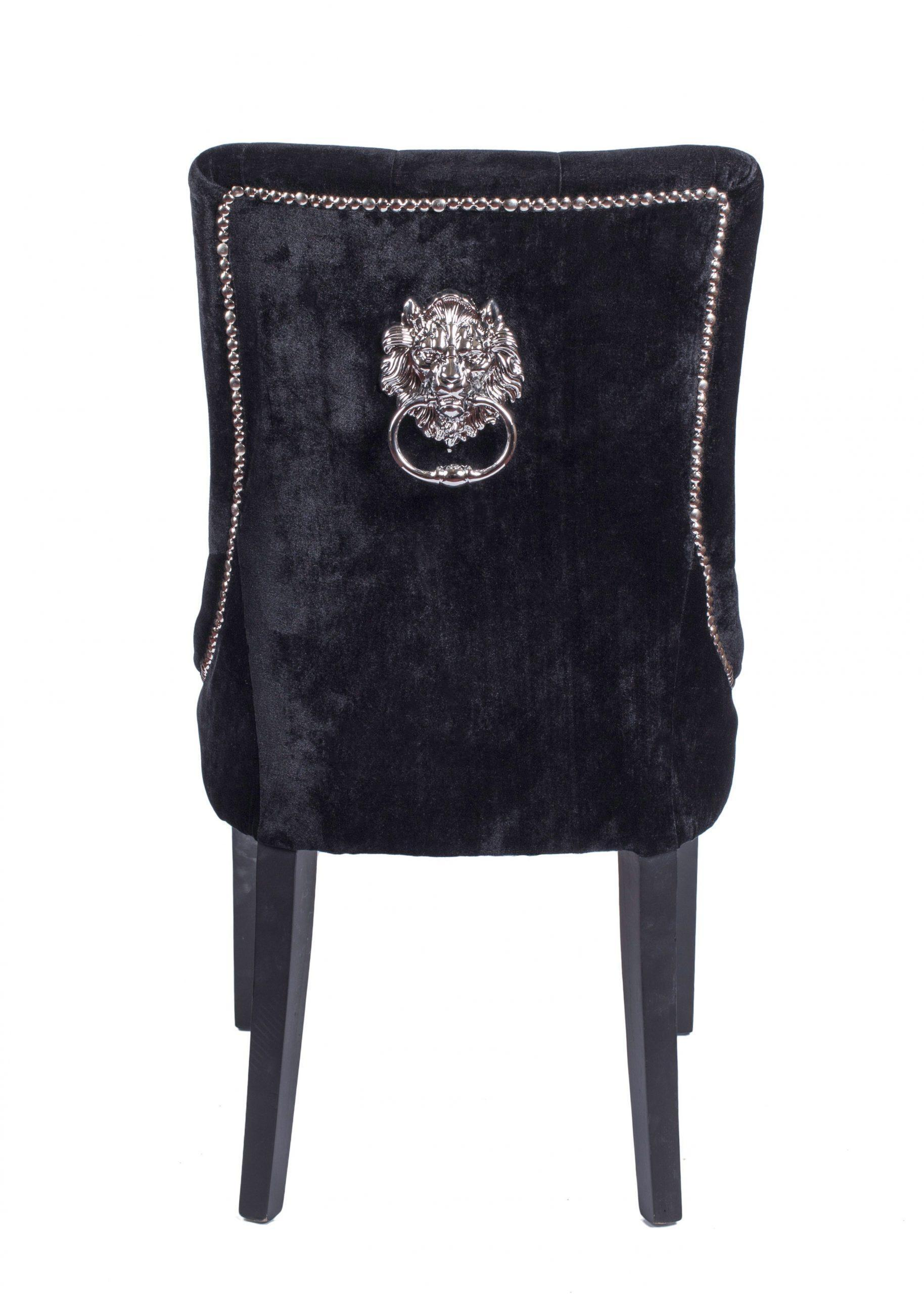 Studded Dining Chairs Black Chrome Studded Dining Chair With Lion Knocker