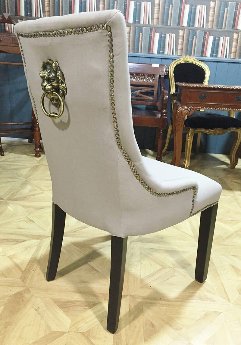 Studded Dining Chairs Cream Brass Studded Dining Chair With Lion Knocker