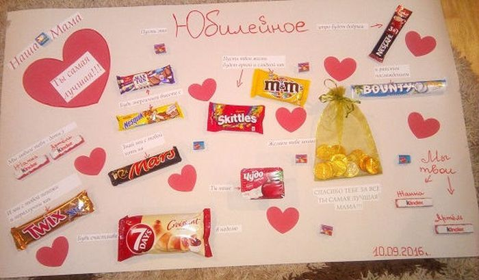Скрапбукинга, открытки с сладостями маме на день рождения