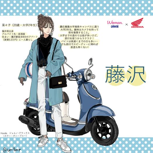Honda原付女子図鑑:主人公イラスト