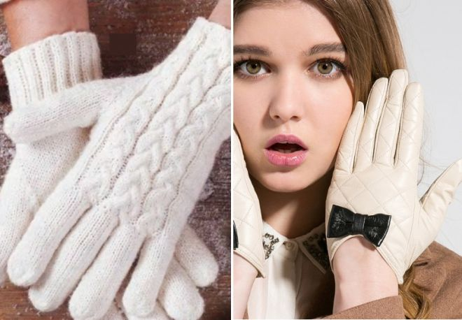 white knitted and leather gloves